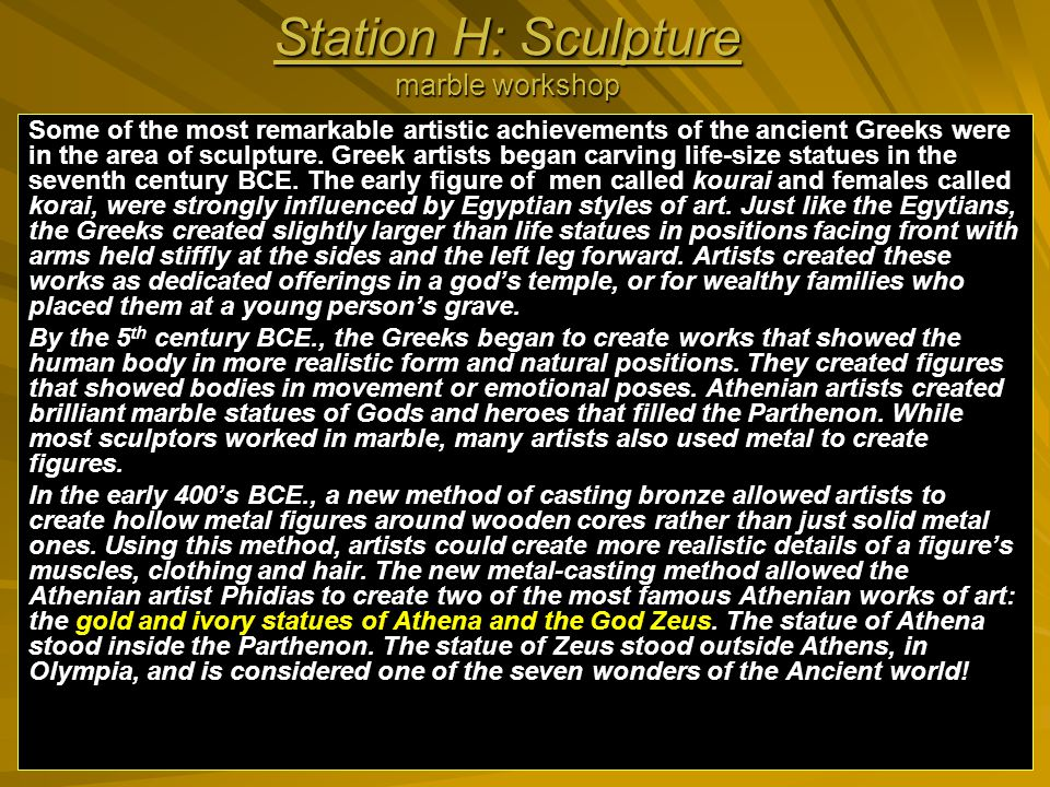 Station H: Sculpture marble workshop