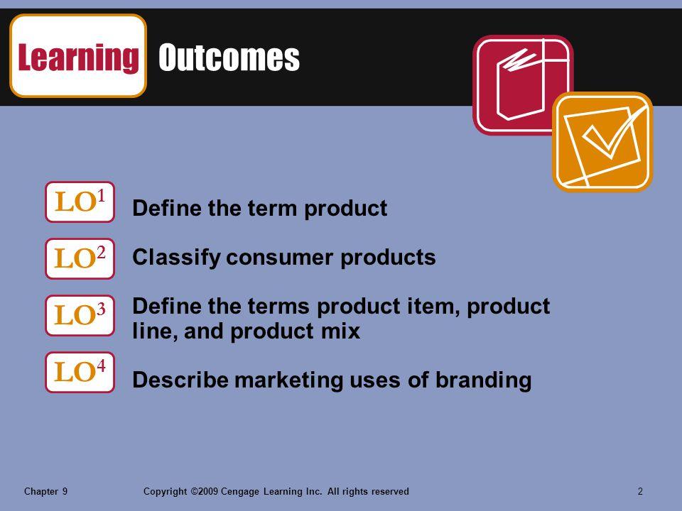 Learning Outcomes LO1 LO2 LO3 LO4 Define the term product