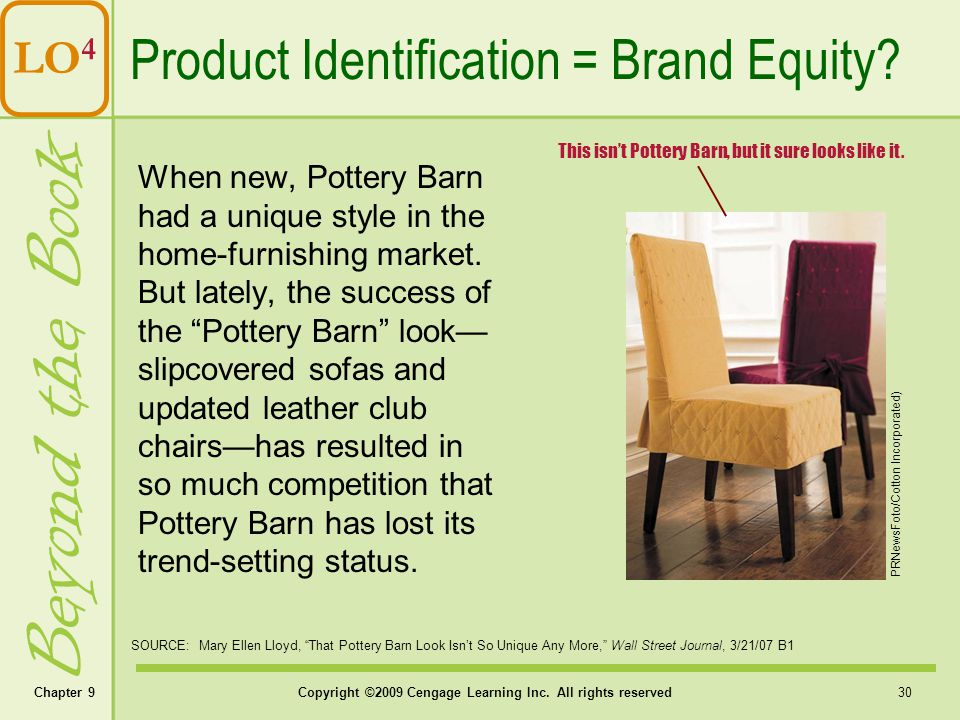 Beyond the Book Product Identification = Brand Equity LO4