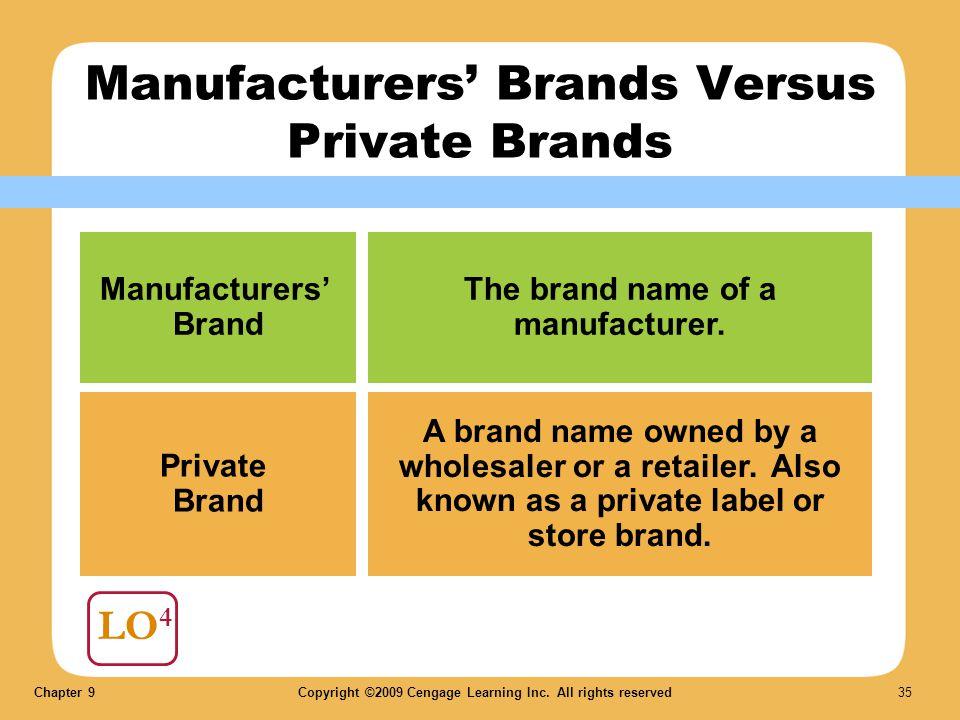 Manufacturers' Brands Versus Private Brands