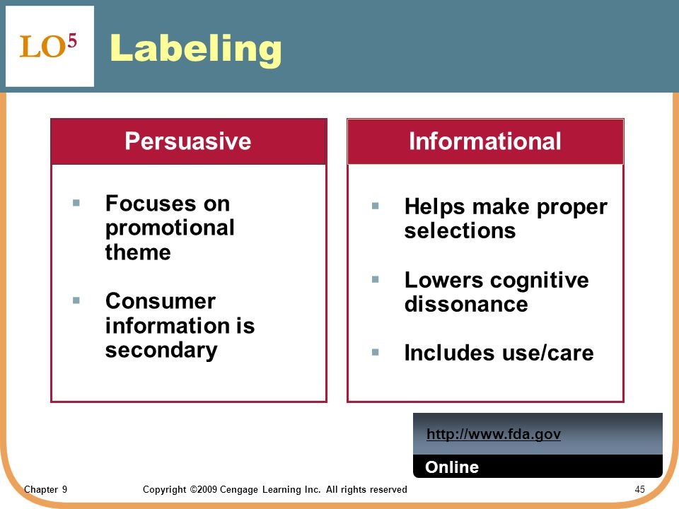 Labeling LO5 Persuasive Informational Focuses on promotional theme