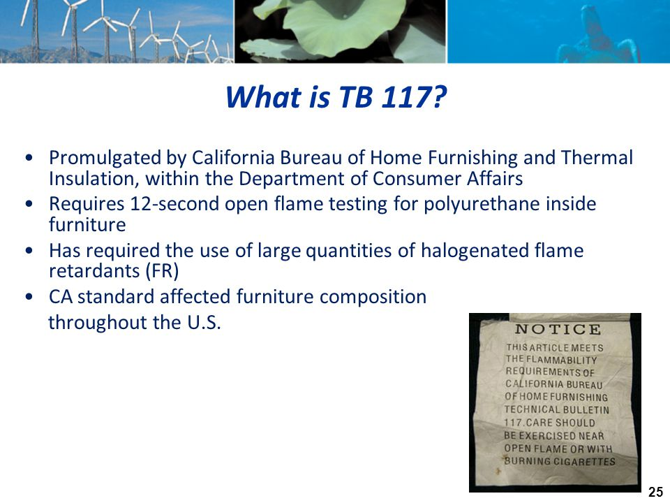 What is TB 117 Promulgated by California Bureau of Home Furnishing and Thermal Insulation, within the Department of Consumer Affairs.