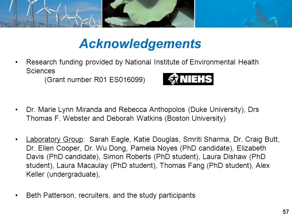 Acknowledgements Research funding provided by National Institute of Environmental Health Sciences. (Grant number R01 ES016099)
