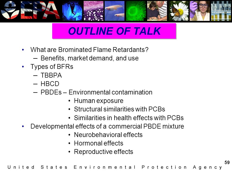 OUTLINE OF TALK What are Brominated Flame Retardants