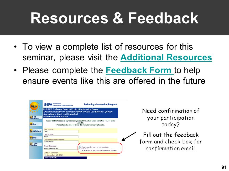 Resources & Feedback To view a complete list of resources for this seminar, please visit the Additional Resources.