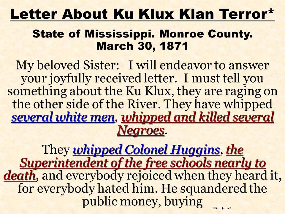Letter About Ku Klux Klan Terror*
