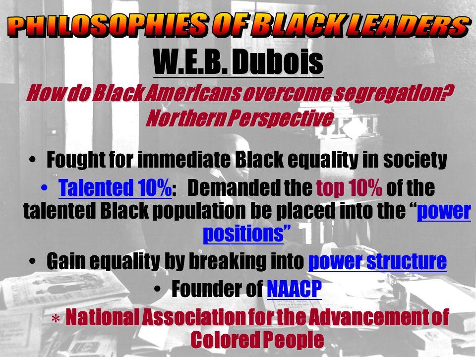 W.E.B. Dubois How do Black Americans overcome segregation