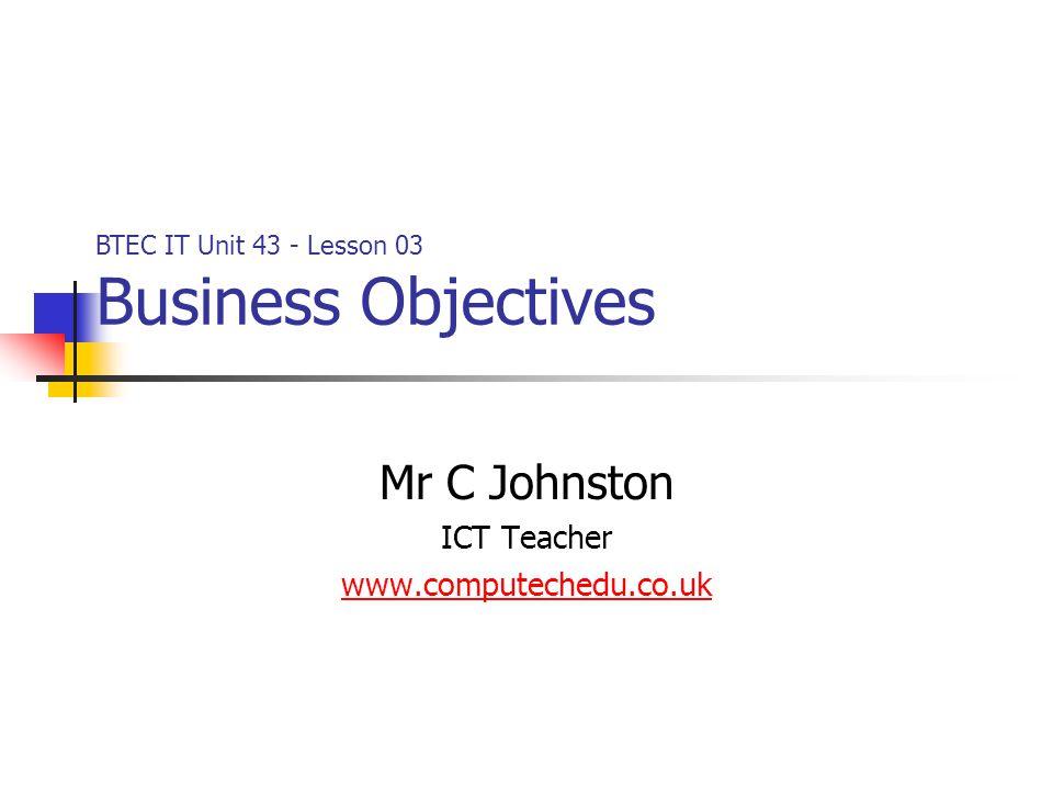 Mr C Johnston ICT Teacher www.computechedu.co.uk