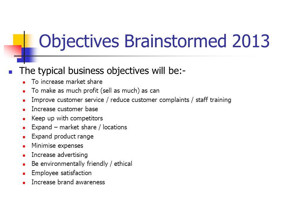 Objectives Brainstormed 2013