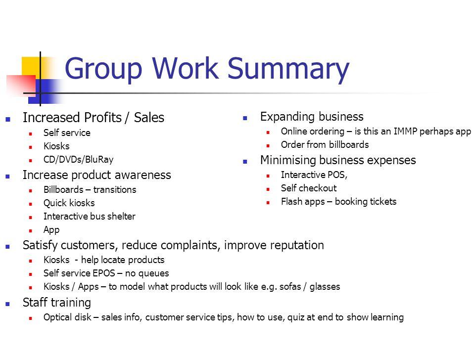 Group Work Summary Increased Profits / Sales 4/1/2017
