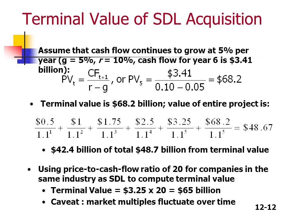 Terminal Value of SDL Acquisition