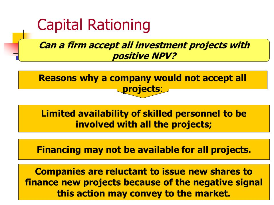 Can a firm accept all investment projects with positive NPV