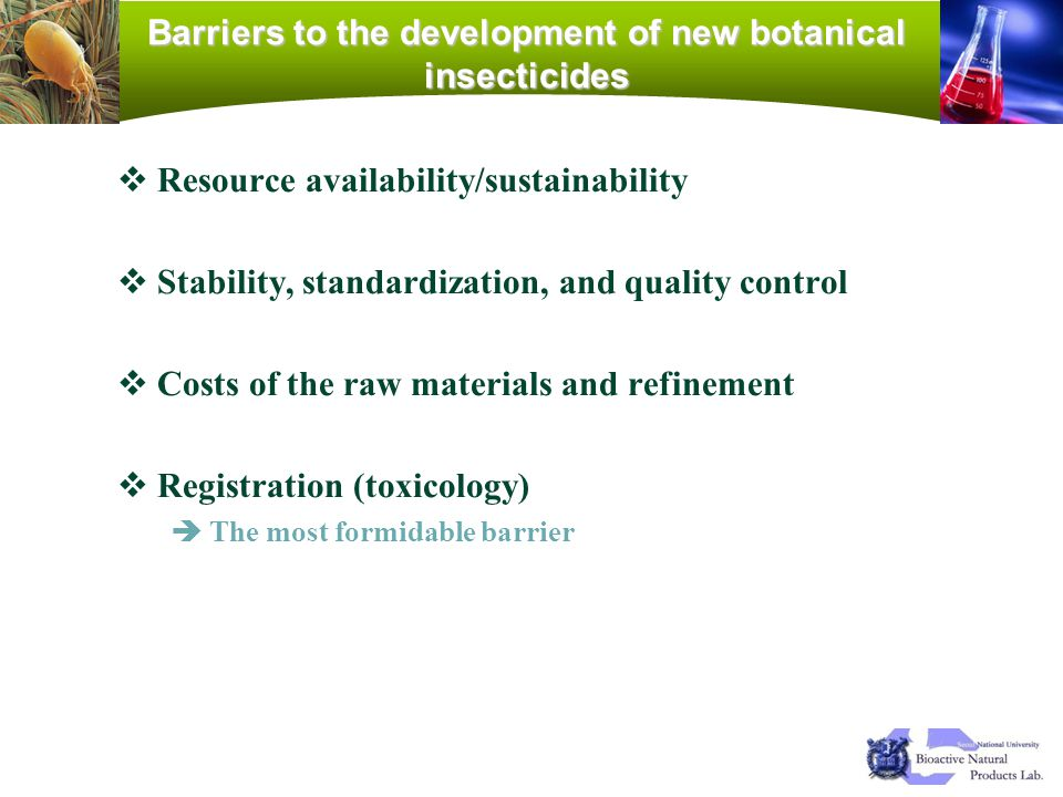 Barriers to the development of new botanical insecticides