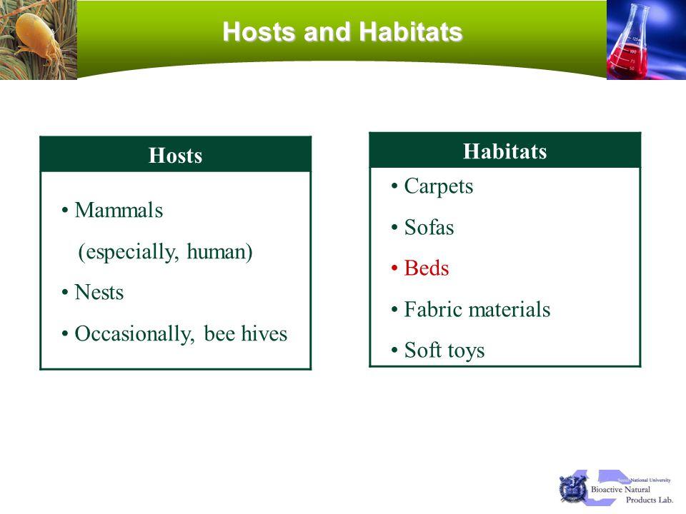Hosts and Habitats Hosts Mammals (especially, human) Nests