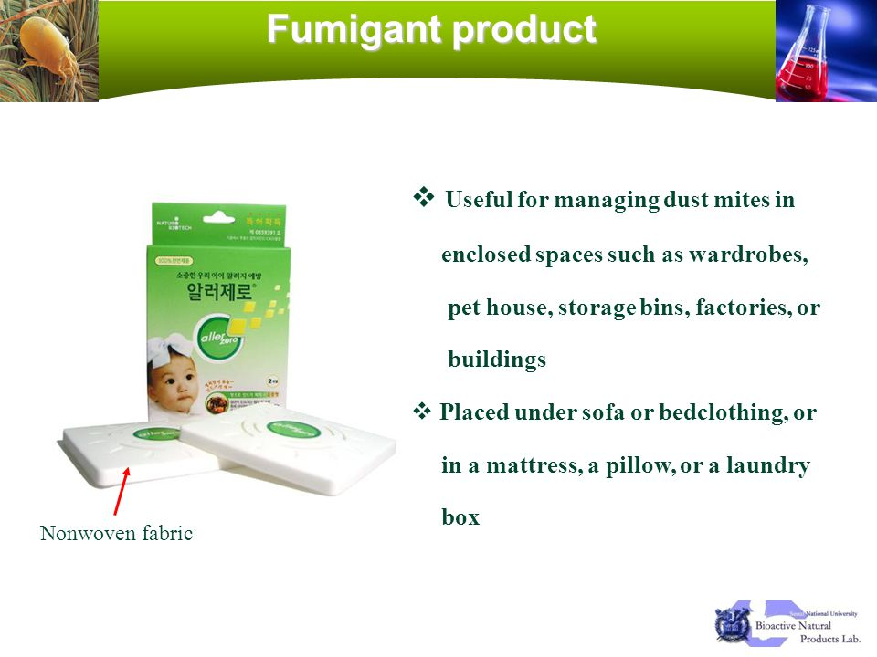 Fumigant product Useful for managing dust mites in