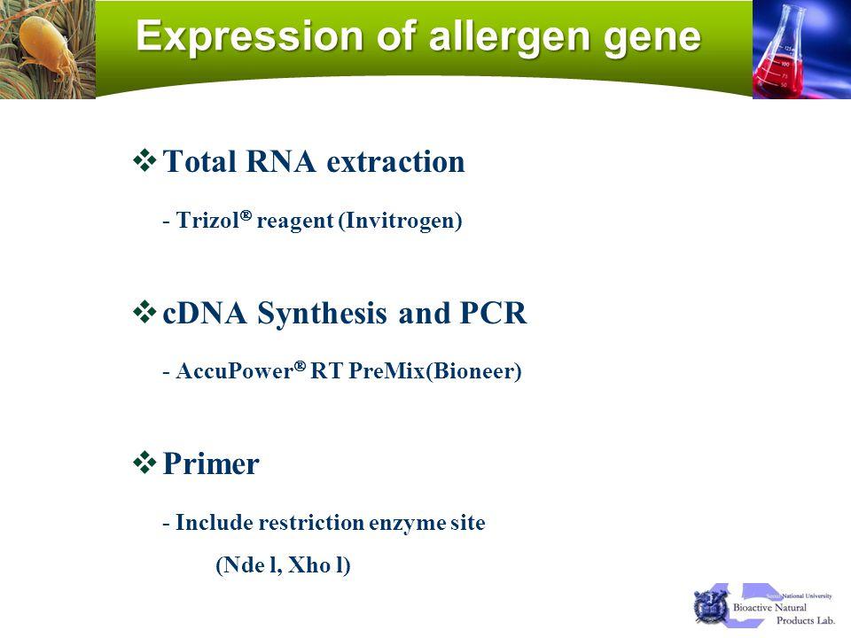 Expression of allergen gene