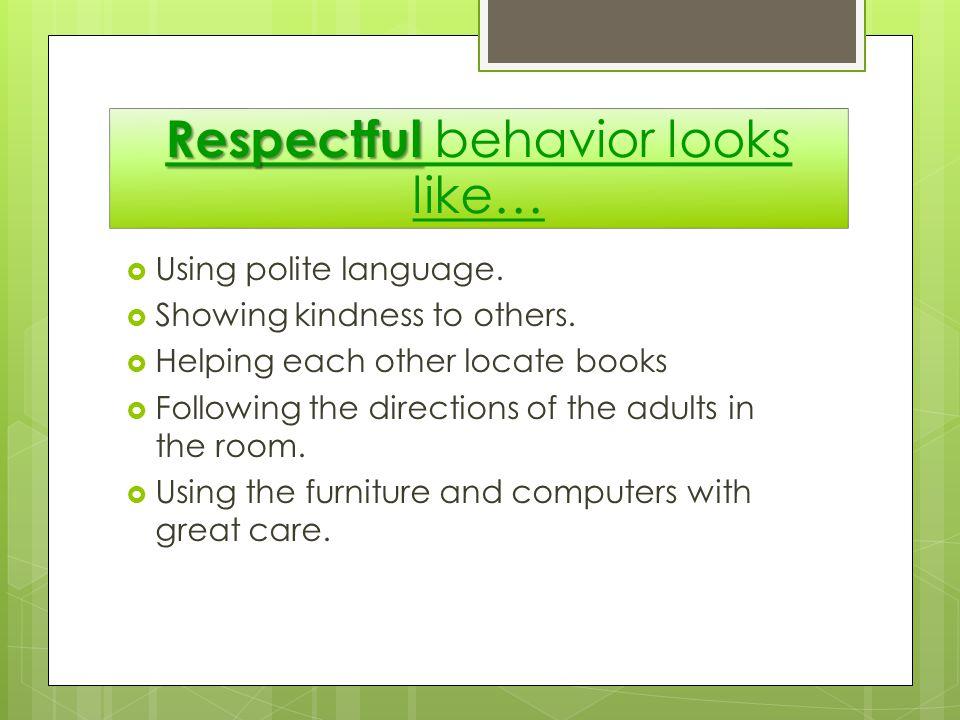 Respectful behavior looks like…