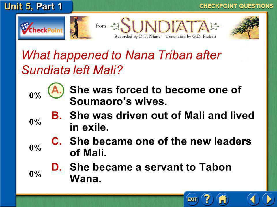 What happened to Nana Triban after Sundiata left Mali