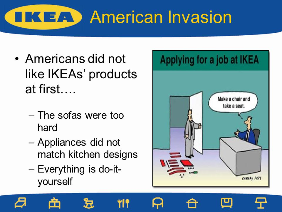 American Invasion Americans did not like IKEAs' products at first….