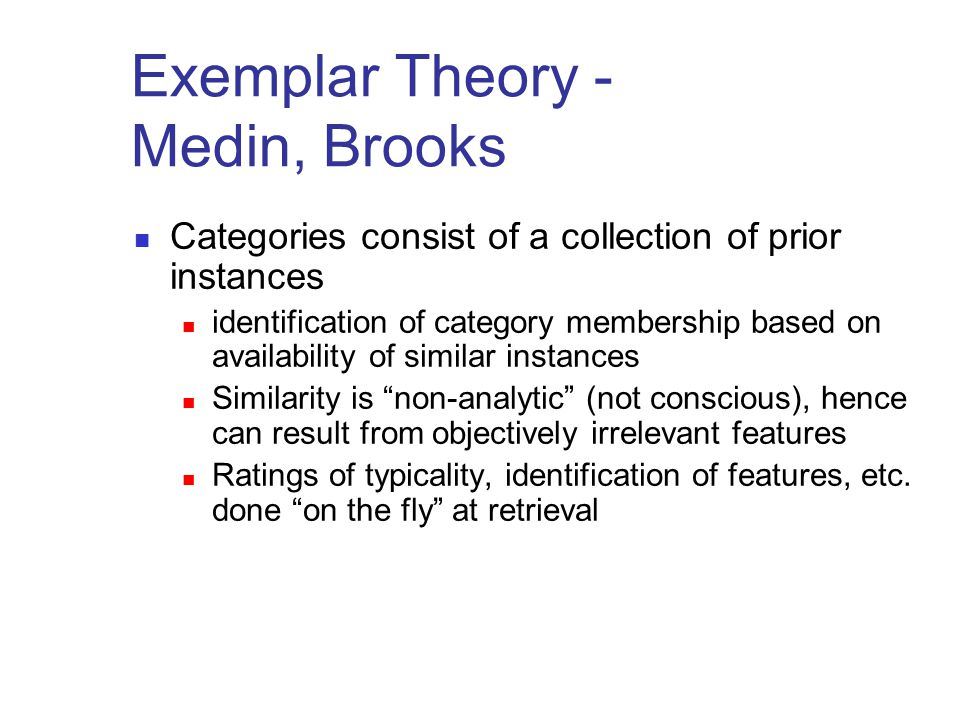 Exemplar Theory - Medin, Brooks