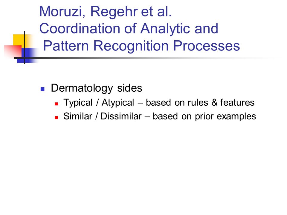 Moruzi, Regehr et al. Coordination of Analytic and Pattern Recognition Processes