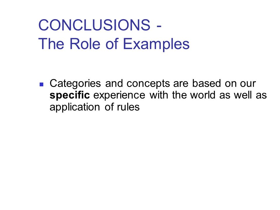 CONCLUSIONS - The Role of Examples