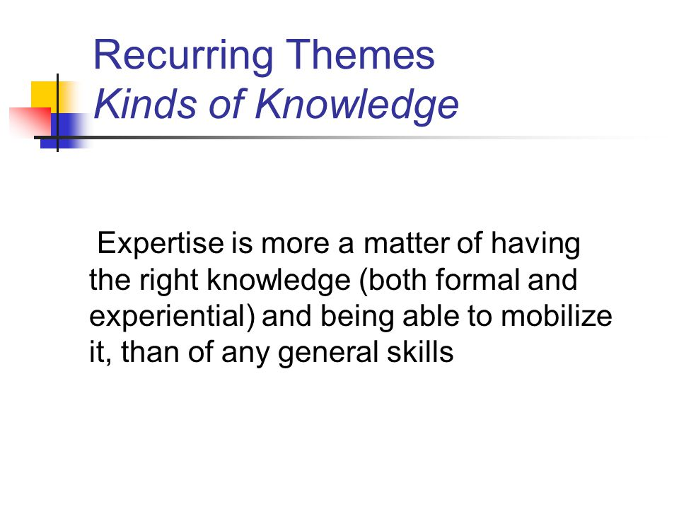 Recurring Themes Kinds of Knowledge