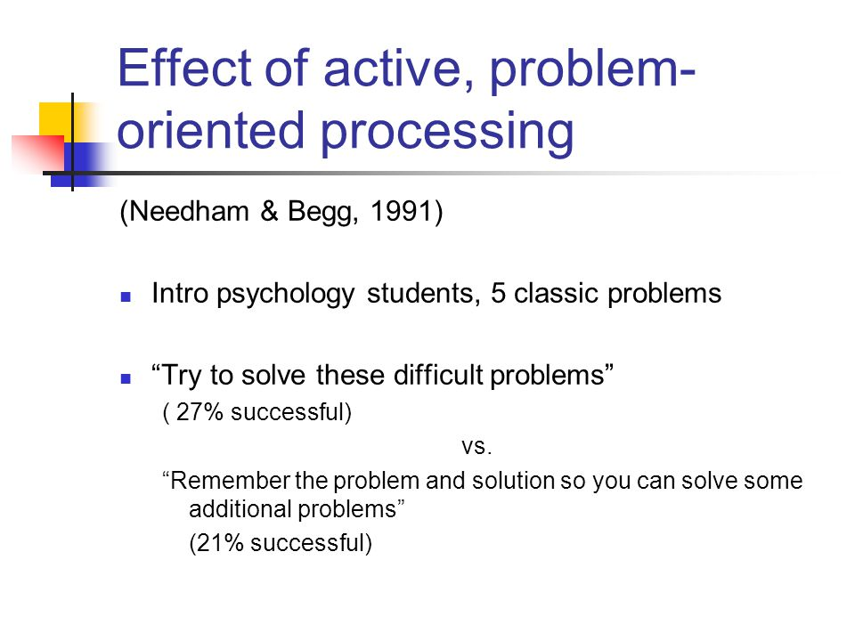 Effect of active, problem-oriented processing