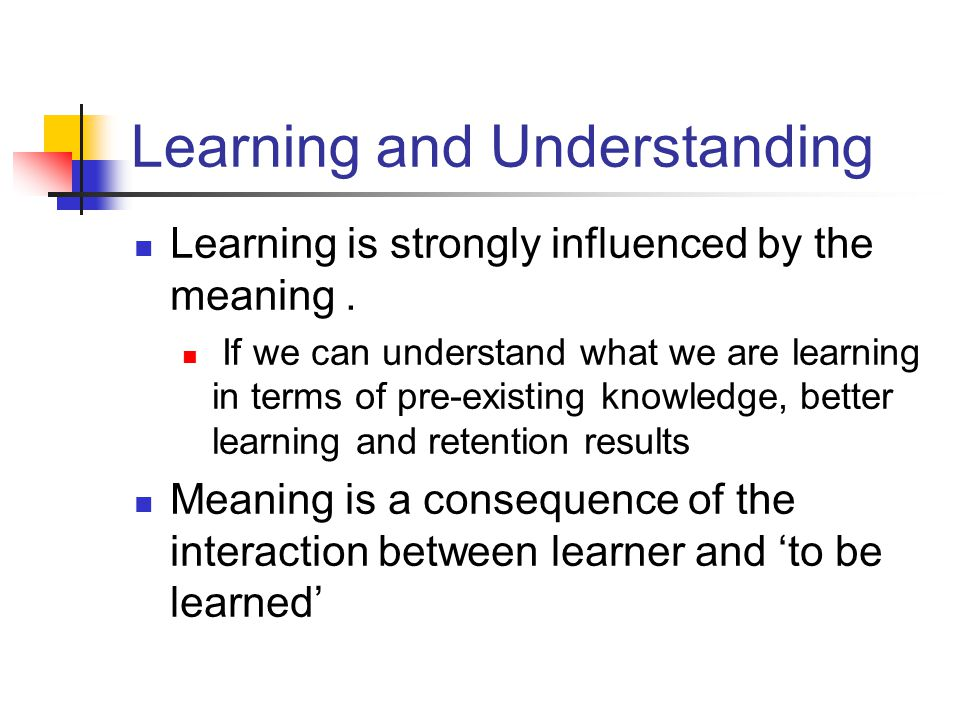 Learning and Understanding