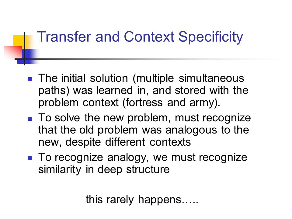 Transfer and Context Specificity