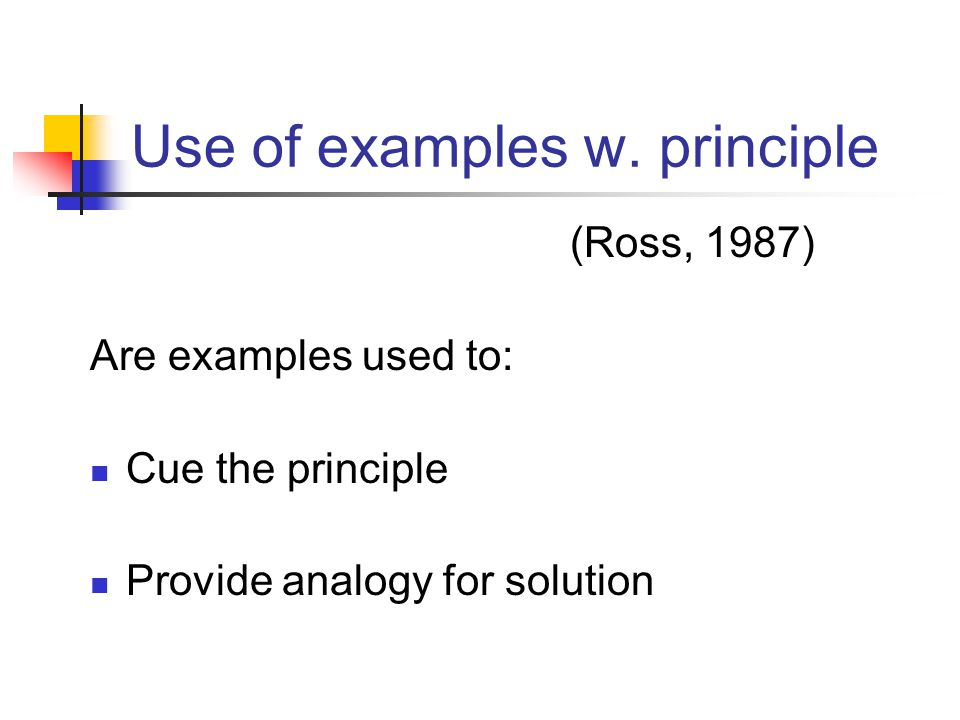 Use of examples w. principle