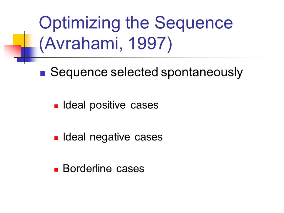 Optimizing the Sequence (Avrahami, 1997)