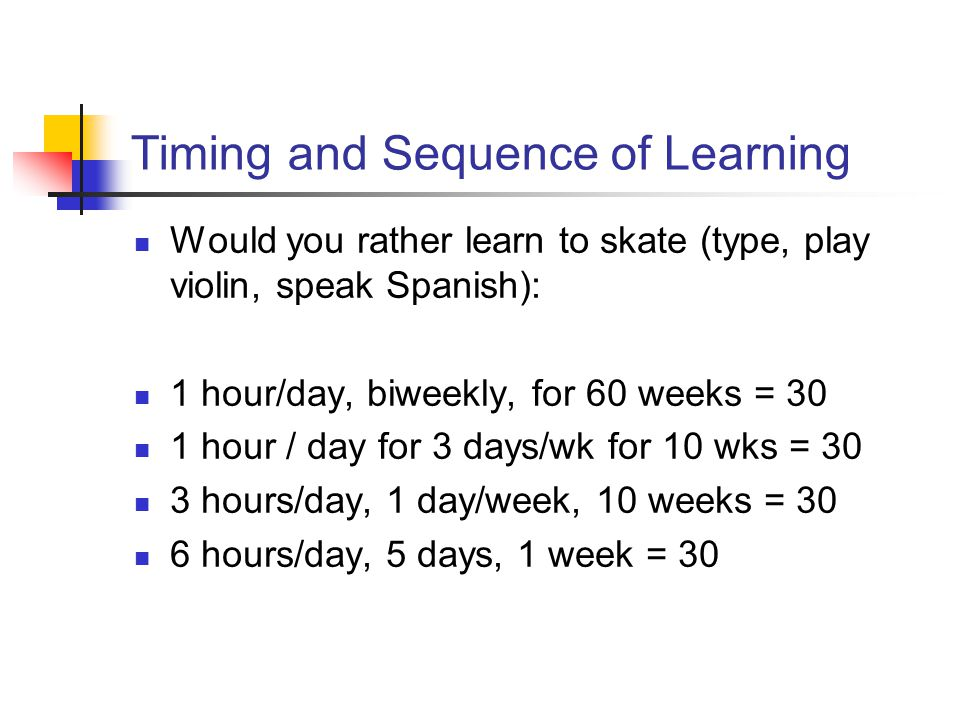 Timing and Sequence of Learning