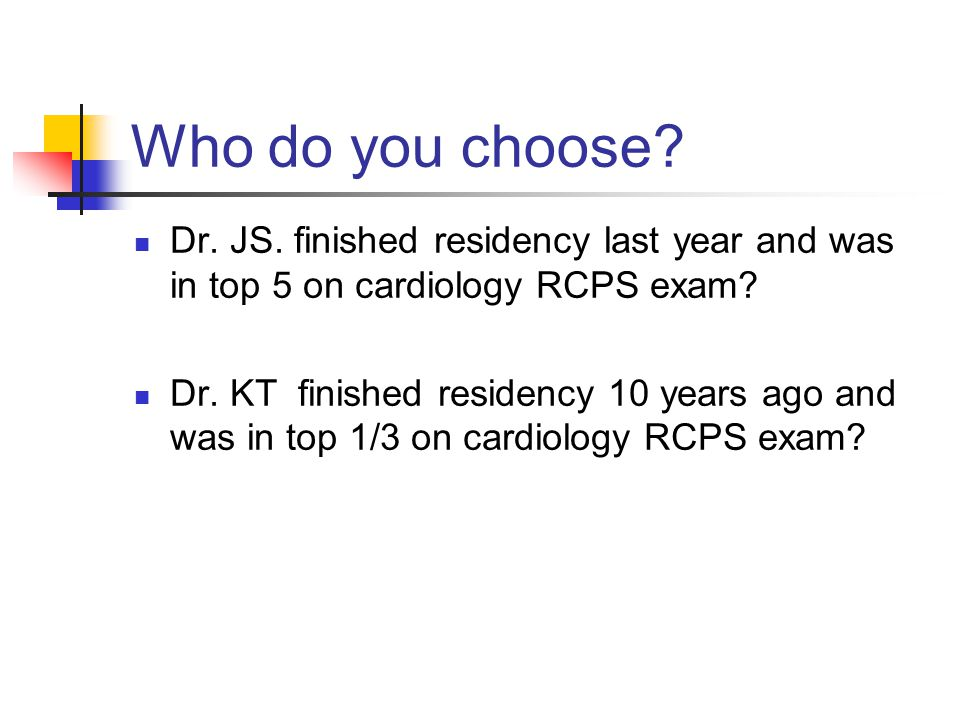 Who do you choose Dr. JS. finished residency last year and was in top 5 on cardiology RCPS exam