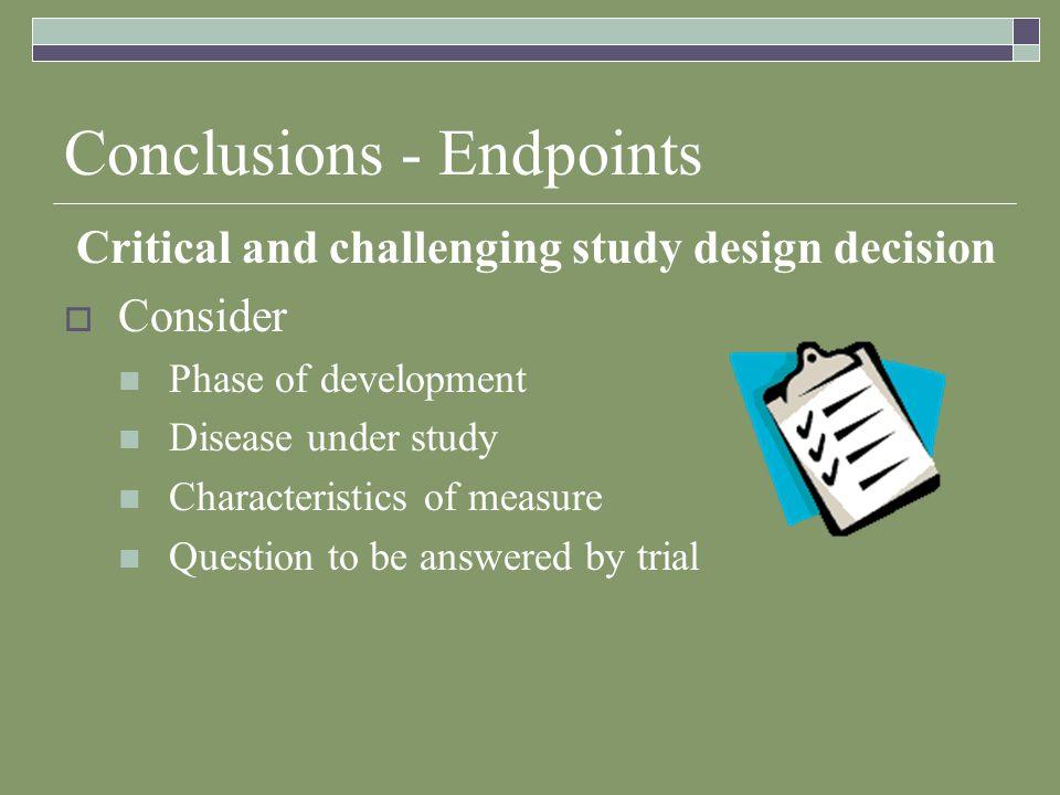 Conclusions - Endpoints