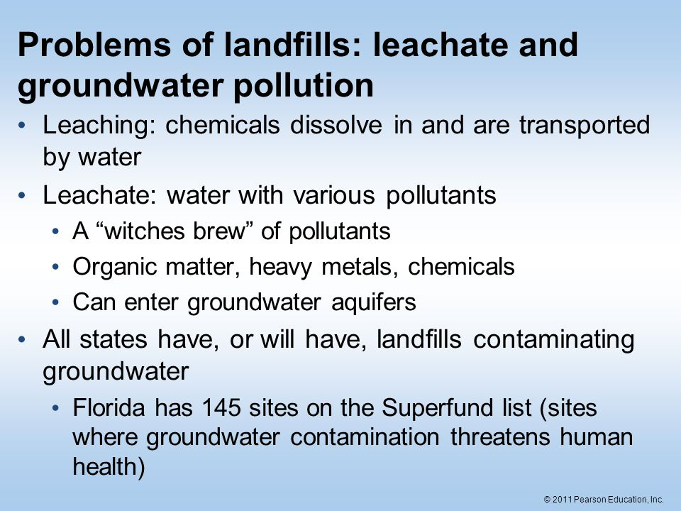 Problems of landfills: leachate and groundwater pollution