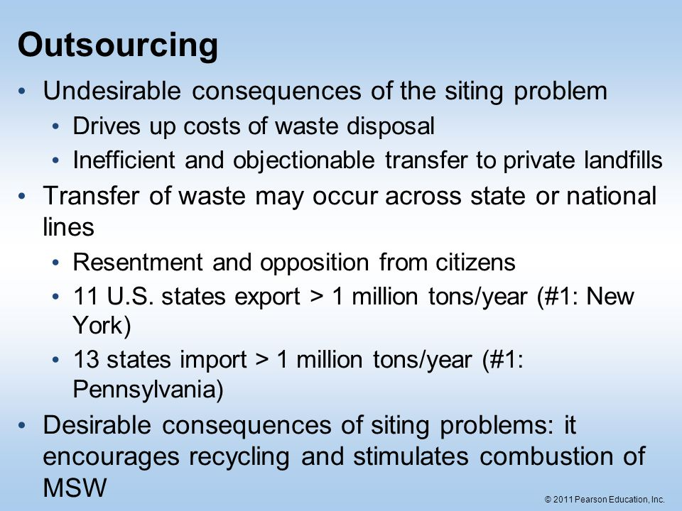 Outsourcing Undesirable consequences of the siting problem