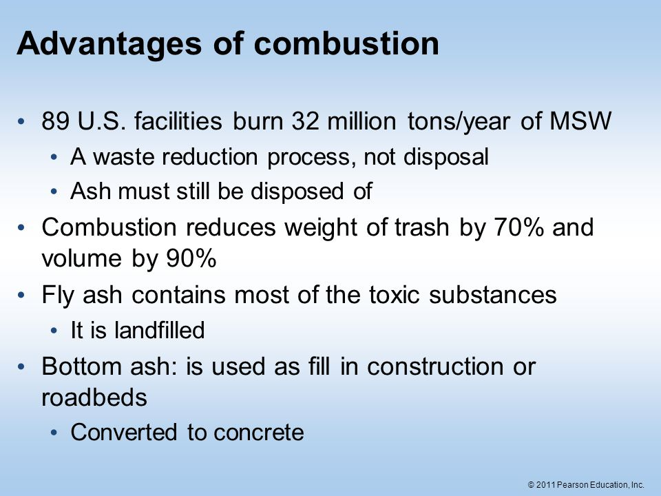 Advantages of combustion