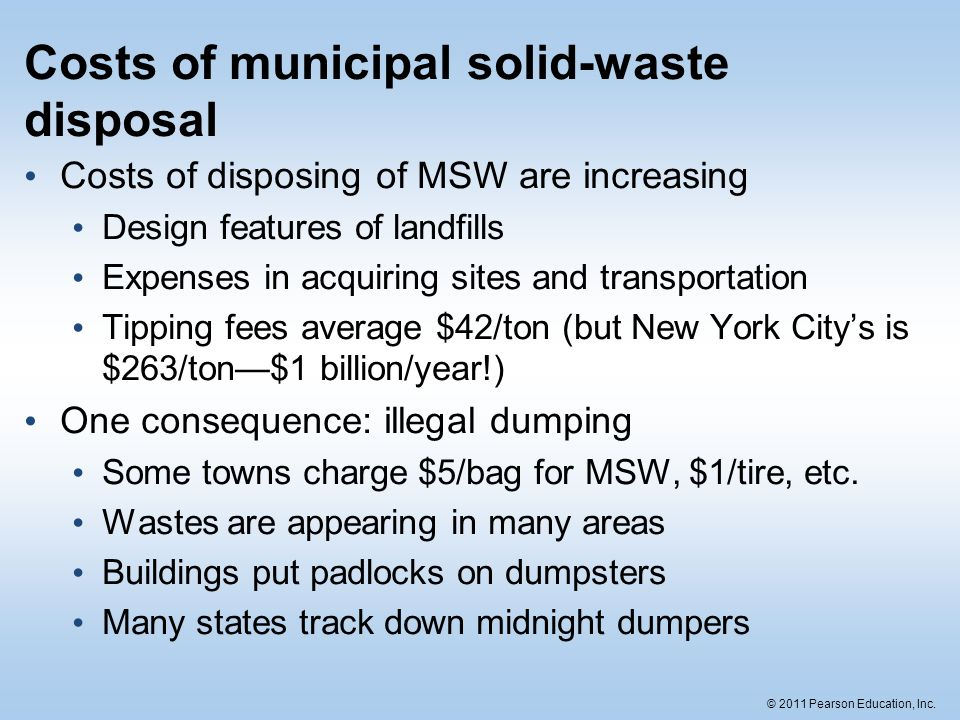 Costs of municipal solid-waste disposal