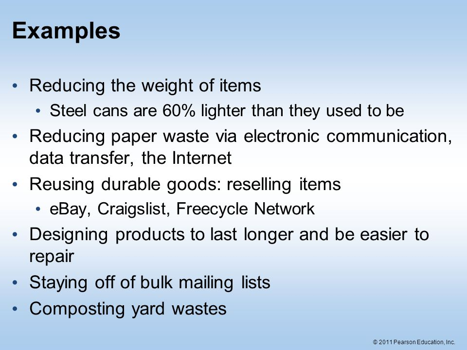 Examples Reducing the weight of items