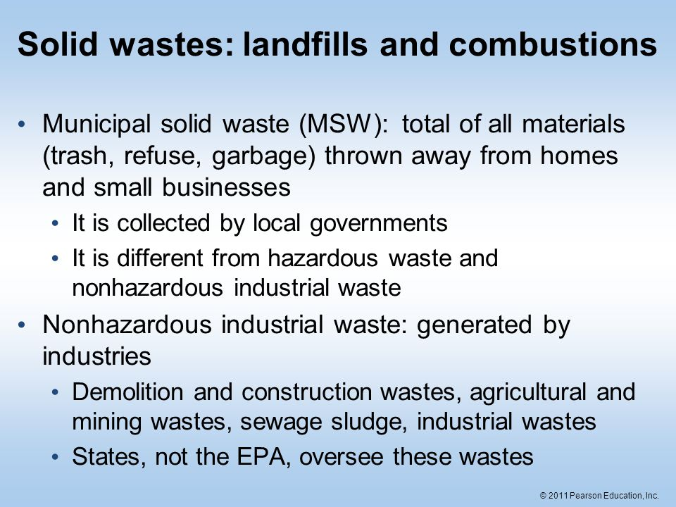 Solid wastes: landfills and combustions