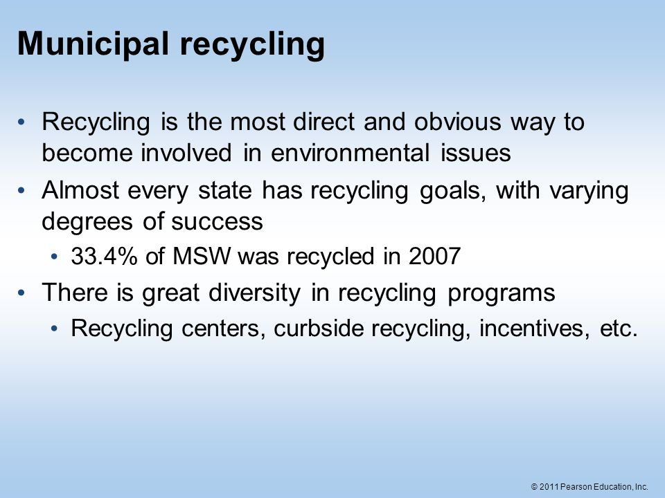 Municipal recycling Recycling is the most direct and obvious way to become involved in environmental issues.