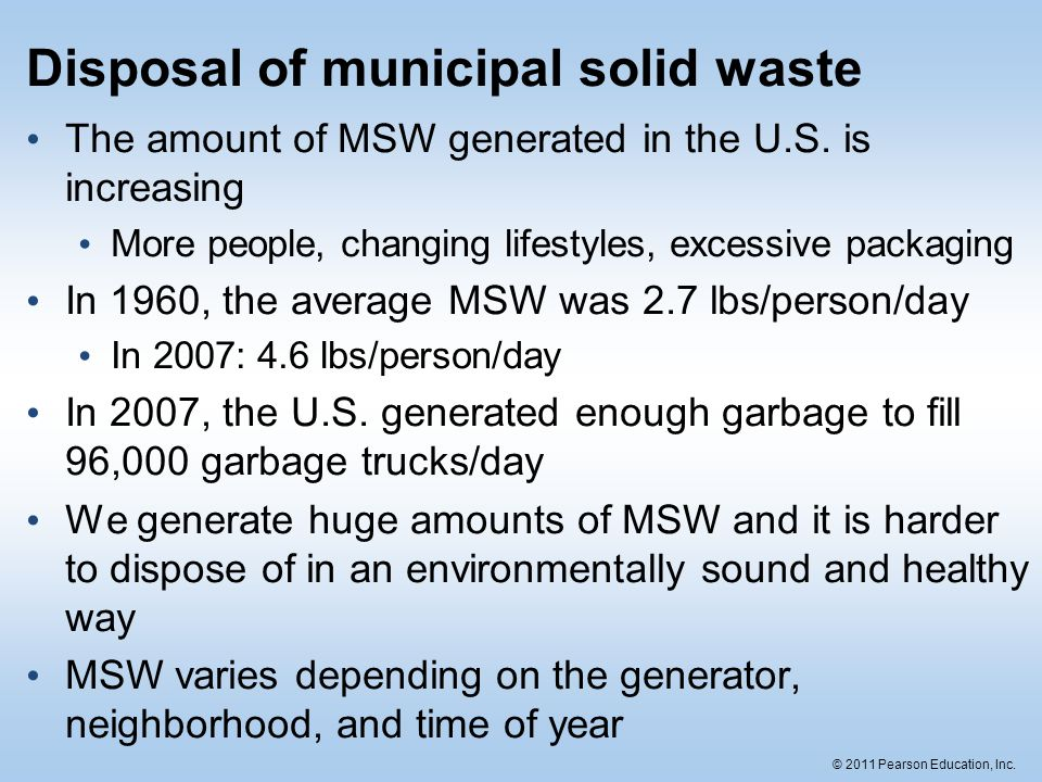 Disposal of municipal solid waste