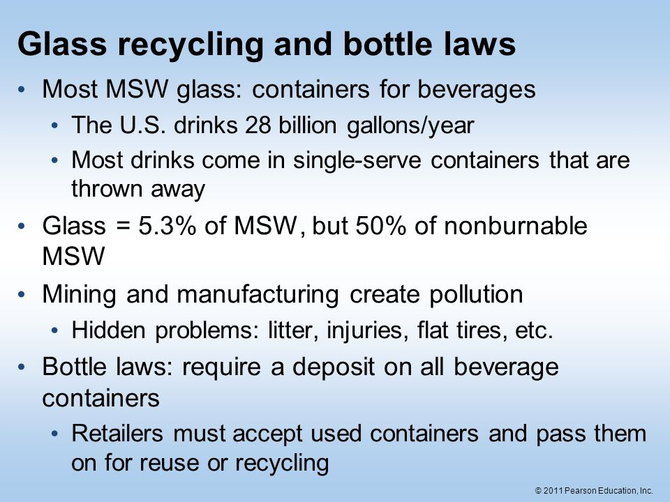 Glass recycling and bottle laws