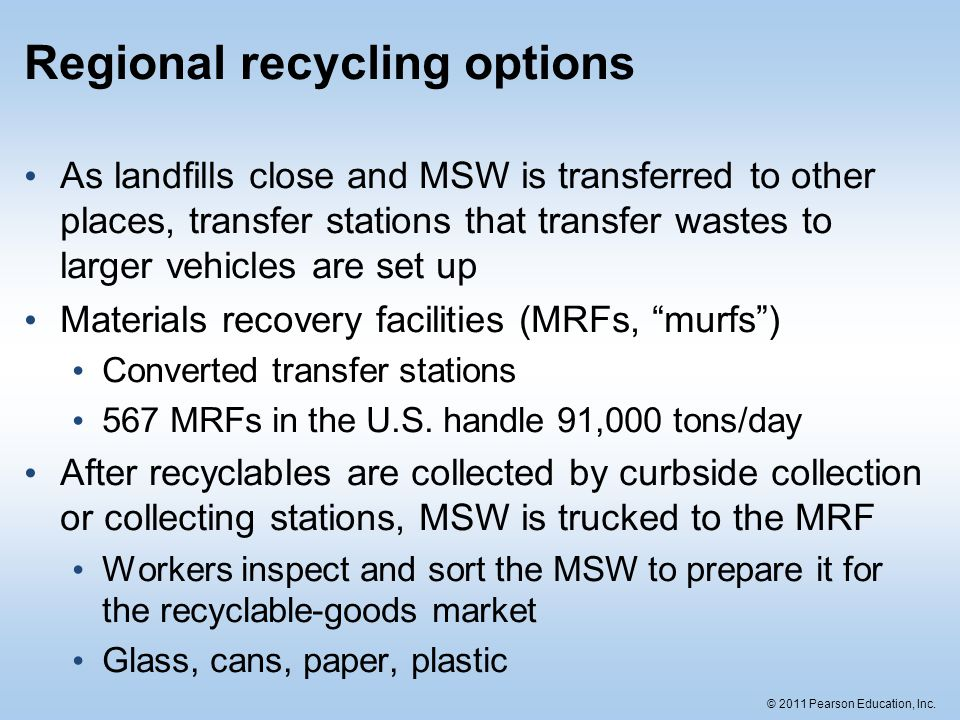 Regional recycling options