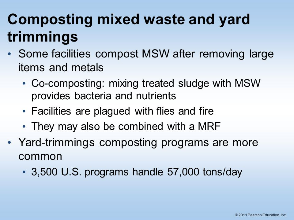 Composting mixed waste and yard trimmings