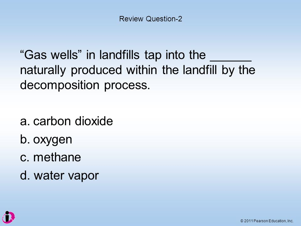 Review Question-2 Gas wells in landfills tap into the ______ naturally produced within the landfill by the decomposition process.