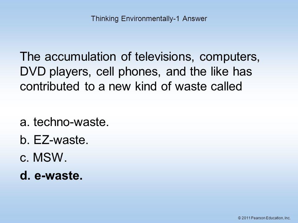 Thinking Environmentally-1 Answer