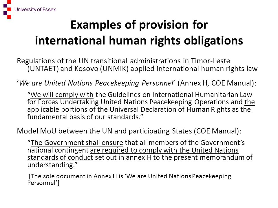 Examples of provision for international human rights obligations