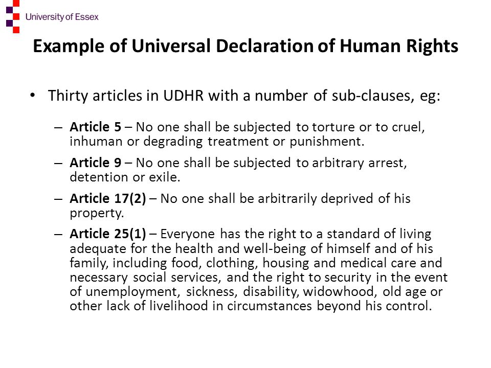 Example of Universal Declaration of Human Rights